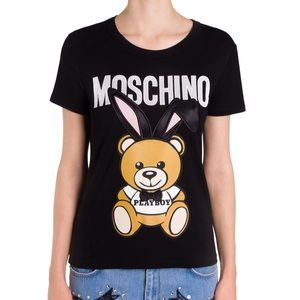 Moschino Black Fitted Playboy Bear Tee